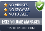 Ext2 Volume Manager is free of viruses and malware.