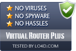 Virtual Router Plus is free of viruses and malware.