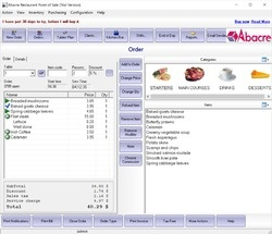 Abacre Restaurant Point of Sale Screenshot