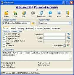 Advanced ZIP Password Recovery Screenshot