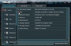 ASUS PC Diagnostics Screenshot
