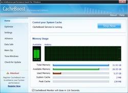 CacheBoost Professional Edition Screenshot
