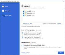 Google Backup and Sync Screenshot