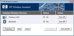 HP Wireless Assistant Screenshot