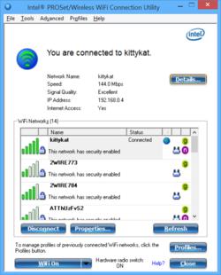 Intel PROSet Wireless WiFi Software Screenshot