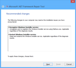 Microsoft NET Framework Repair Tool Screenshot
