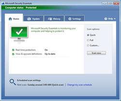 Microsoft Security Essentials Screenshot