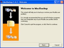 MozBackup Screenshot