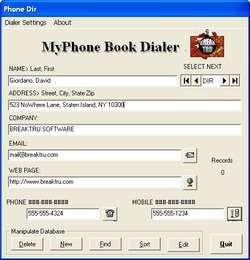 MyPhone Book Dialer Screenshot