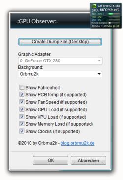 NVIDIA GPU Sidebar Gadget Screenshot
