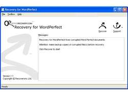 Recovery for WordPerfect Screenshot