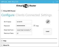 Virtual WiFi Router Screenshot