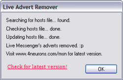 Windows Live Advert Remover Screenshot