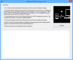 Windows Phone Support Tool Screenshot