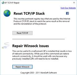 XP TCP IP Repair Screenshot