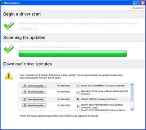 Screenshot of Device Doctor 5.0, a driver updating app for the Windows operating system.
