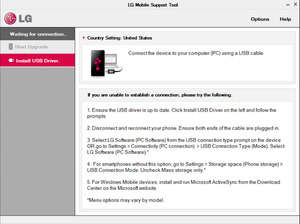 Screenshot of LG Support Tool 1.8, a LG phone updating app for the Windows operating system.