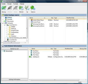 Screenshot of Samsung Auto Backup 4.2, a HDD backup app for the Windows operating system.