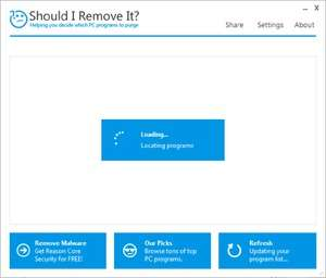 Screenshot of Should I Remove It 1.0, an uninstalation app for the Windows operating system.