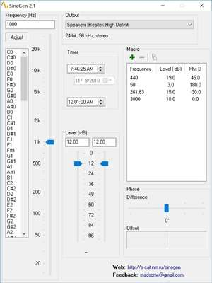 Screenshot of SineGen 2.5, a benchmarking app for the Windows operating system.