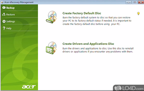 Acer eRecovery Management - Screenshot 1