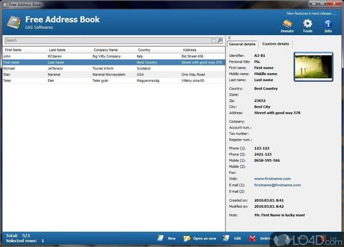 Free Address Book - Screenshot 1