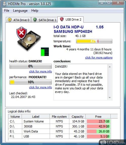 На этой странице - значит Вм необходима программа HDDlife Pro 3.1.1.