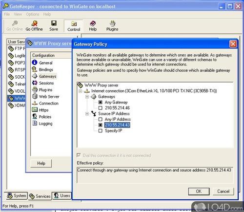 Screenshots of WinGate (6) .