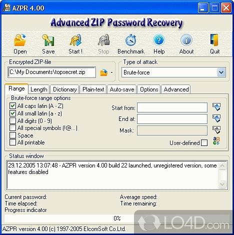 В настоящее время, нет известного метода извлечения пароля сжатого