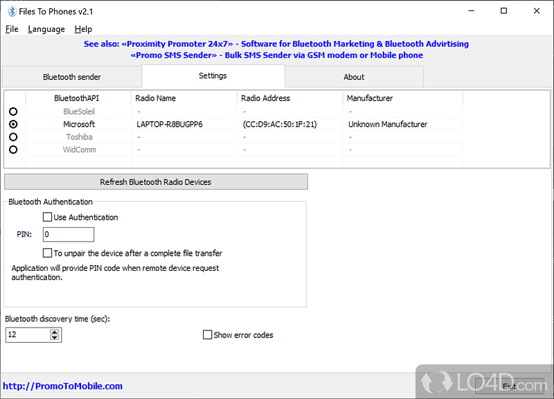 Software Bluetooth (free) download Windows version