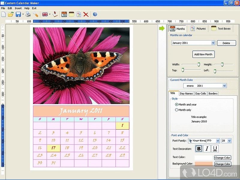 Calendar Design Creator : Custom calendar maker lo d
