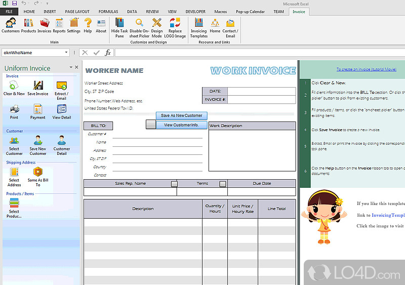 excel invoice template screenshot 1