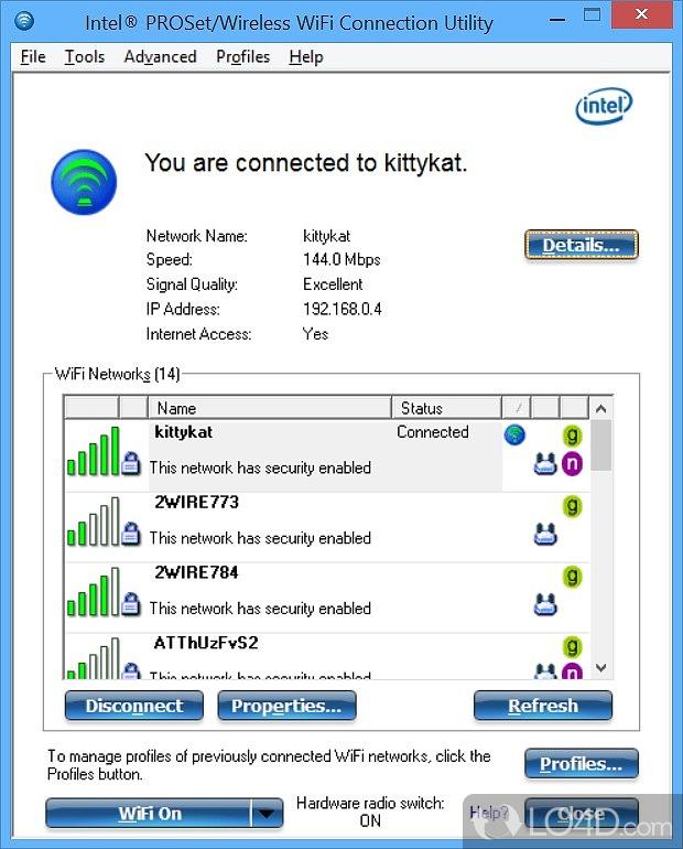 Tests Com Reviews >> Intel PROSet/Wireless WiFi Software - Screenshots