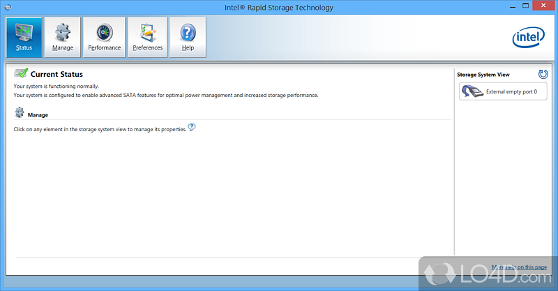 Intel Rapid Storage Technology Screenshot 1