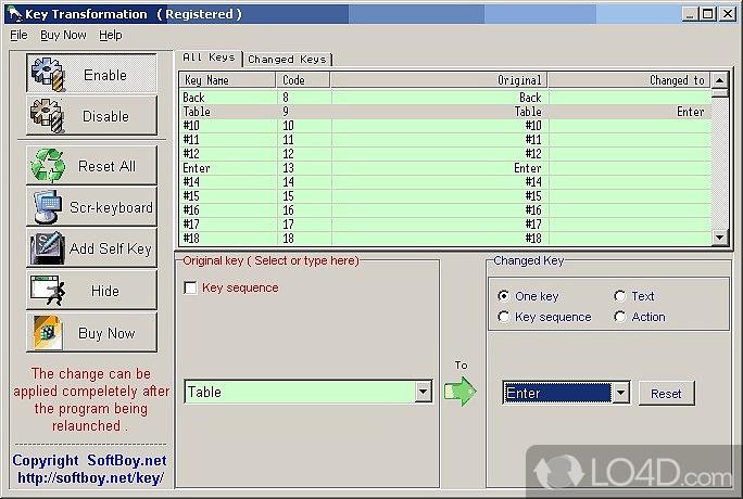 Скриншот программы Key Transformation.