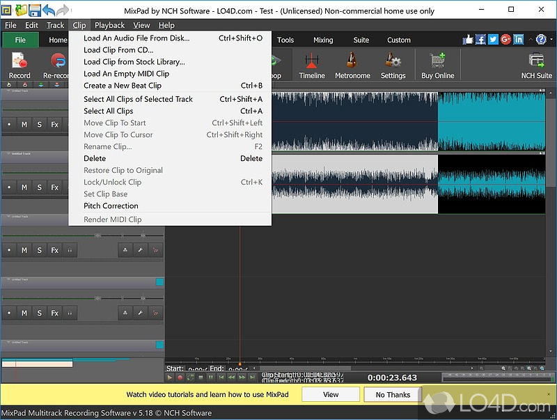 free mixpad multitrack recording software