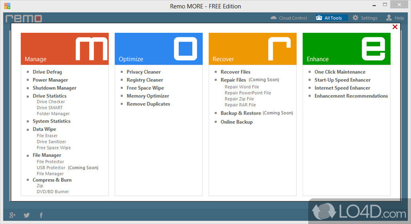 Effortlessly manage device power usage, memory space, files & folders.