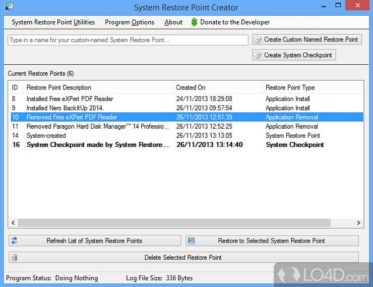 Tests Com Reviews >> Restore Point Creator - Screenshots