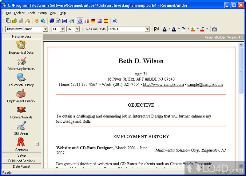 resume builder screenshot 2