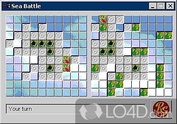 Игра Морской бой на поле 10Х10. Выглядит симпатично, для