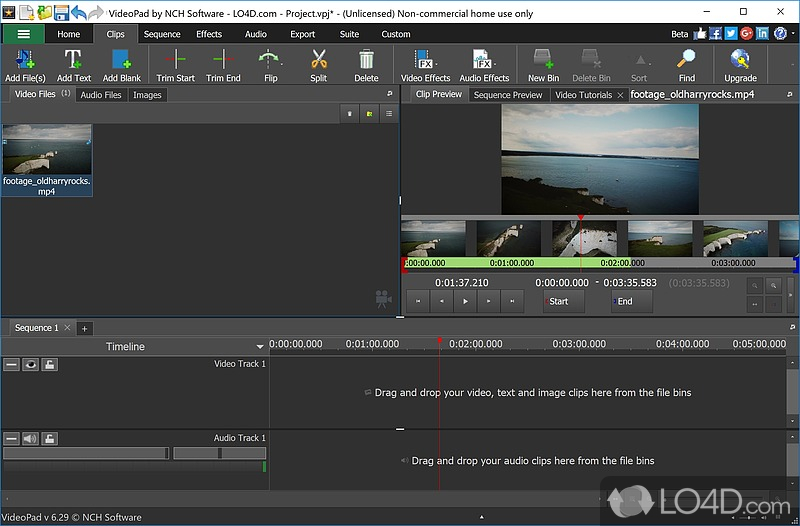 is videopad video editor free