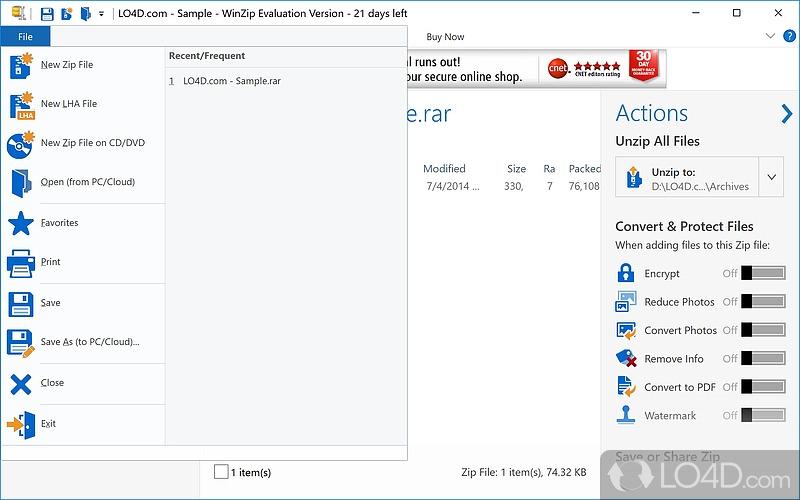 how to create a winzip on windows 7