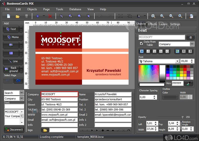 Businesscards mx screenshots - Visitenkarten freeware ...