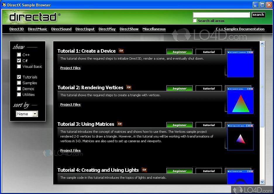 DirectX 9 SDK - Screenshots