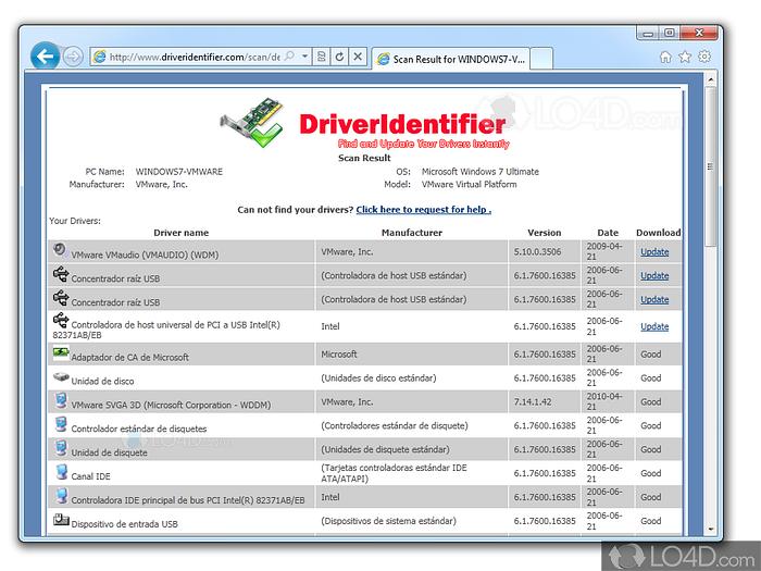 Driver Identifier - Screenshots