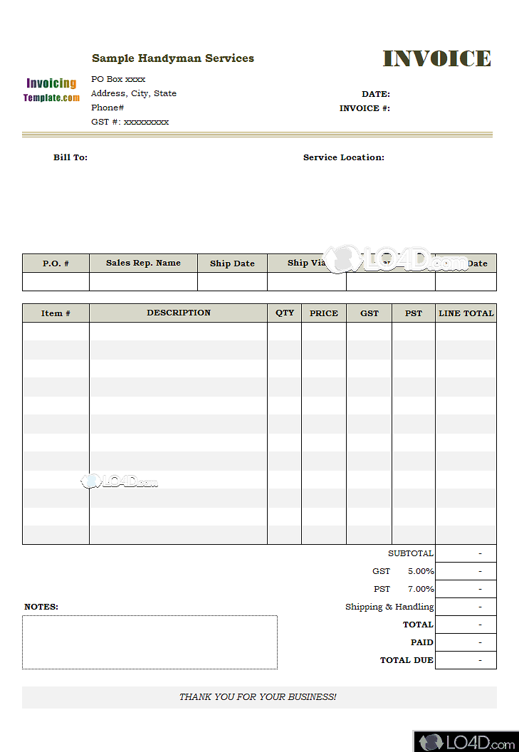 Excel Invoice Template 2003 Lo4d Com