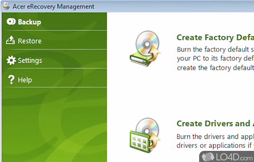 Acer eRecovery Management Screenshot