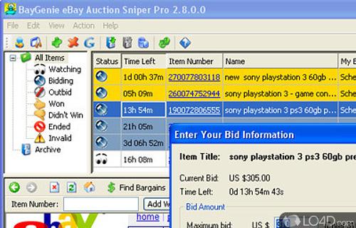 BayGenie eBay Auction Sniper (free) download Windows version