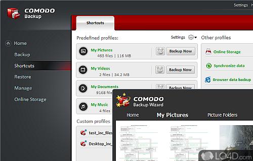 Comodo Backup Screenshot