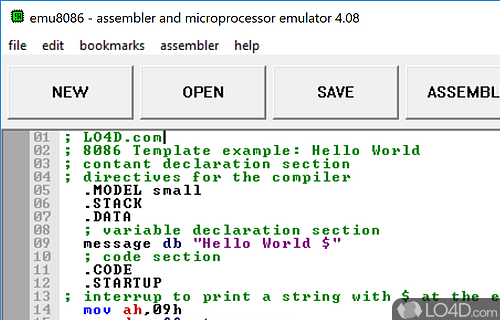 Microprocessor emulator / 8086 assembly download.